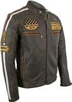 Herren Retro Biker Motorrad Lederjacke Jacke Race Streifen Rockerjacke Chopper