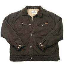 Woolrich Mens Shirt Jacket Brown Button Fleece Lined Flap Pocket 100% Cotton XL