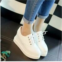 Fashion Women's Round Toe Lace Up Sneakers Casual Platform Wedge Casual Shoes