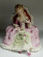 Vintage KPM Porcelain Sitting Victorian Lady Reading a Book Rare Color Scheme