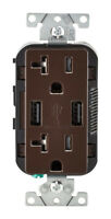 Leviton  Decora  20 amps 125 volt Brown  Outlet and USB Charger  5-20R