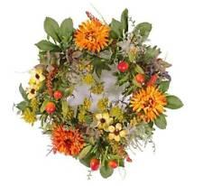 artplants Künstlicher Herbstkranz SABINE Gerbera gelb-orange Ø30cm - Tischkranz