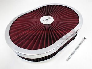 """12""""x2 Oval Super flow Thru Air Cleaner FilterTop Red Washable SBC BBC Chevy Ford"""