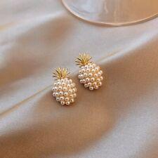 Fashion Pineapple Pearl Stud Earrings Dangle Drop Bride Wedding Jewelry Gifts