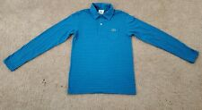 Lacoste Long Sleeve Polo Shirt (Boys Size 12) Blue w/ Black Stripe