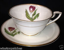 ROYAL WORCESTER WILLIAMSON FLOWER FOOTED CUP & SAUCER 8 OZ TULIP GOLD TRIM