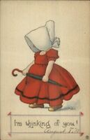 Bernhardt Wall Sunbonnet Girl w/ Umbrella c1915 Postcard