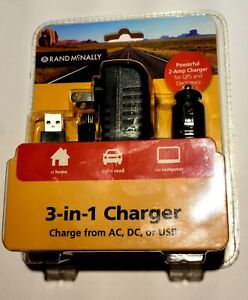 Rand McNally 3-in-1 Micro Charger - charge from AC, DC, or USB / New