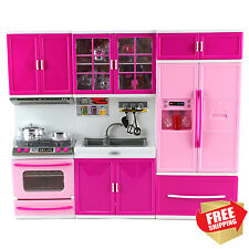 Playset Kitchen Barbie Size Doll Stove Sink Refrigerator Educational Girl Set
