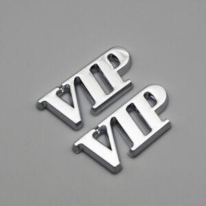 2x Chrome Metal Side Fender VIP Badge Logo Rear Tailgate Trunk Emblem 3D Sticker