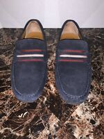 Bally Pietro Driving Shoes Slip On Loafers Men 8.5 US Dk Blue Suede Leather $395