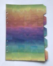 A5 Filofax Organiser Dividers - Beautiful Rainbow Design - Fully Laminated