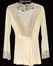 Vintage Vanity Fair Beige Nylon & Floral Lace Lounging Jacket with Tie Sz 32 USA