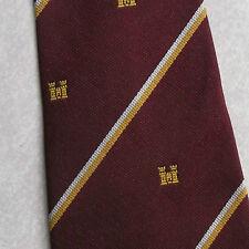 Vintage Club Association Cravate Rétro Crest Emblème 1970 S à Rayures Bordeaux Château
