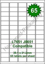 65 Labels per Sheet x 100 Sheets L7651 / J8651 White Matt Copier Inkjet Laser