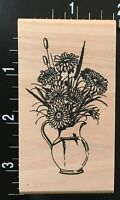 COUNTRY SUNFLOWER AND CATTAILS PLANT VASE Wood Mounted Rubber Stamp