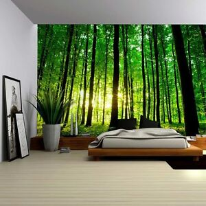 Sun Shining Through a Tall Tree Forest - Wall Mural, Removable Sticker- 66x96