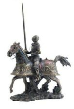 """13.75"""" Medieval Armored Knight & Horse Jousting Statue Lance Figurine Decor"""