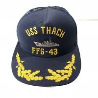 Vintage USS Thach FFG-43 Officers Gold Leaf Mesh Snapback Hat Military US Navy