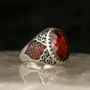 AAA QUALITY 925 STERLING SILVER MENS JEWELRY CABOCHON RED RUBY MEN'S RING