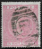1867 QV SG126 5s Rose CA Plate 2 Good Used CV £1,500+
