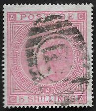 1867 QV SG126 5s Rose CA Plate 2 Good Used CV £1,500+