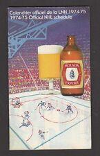 1974-75 MOLSON  HOCKEY SCHEDULE   VG   STAIN MARK  INV 2