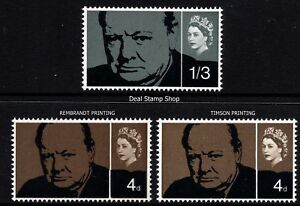 1965 Churchill Commemoration Both Printers SG661, SG661a  & SG662 Unmounted Mint