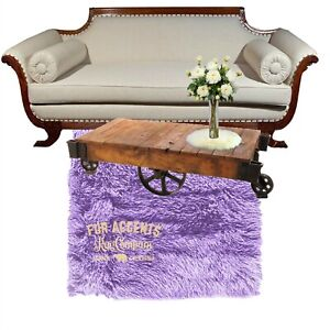 Contemporary Lavender Shag Rug, Plush Faux Fur, Bonded Suede Lining, Made in USA