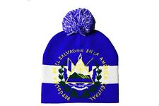 EL SALVADOR With TITLE Country Flag  BEANIE HAT  With POM POM..NEW