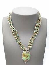 Vintage Ten Strands Turquoise Beads Necklace & Spiderweb Turquoise Gem pendant