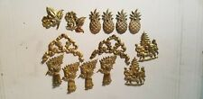 14 Pineapples Christmas Beautiful Decor �🌞 Brass Decorating Candle Pins Lot Of