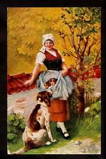 c.1905 german american novelty mother setter dog watches woman puppies postcard