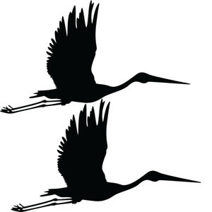 Qty 2 Flying Stork Stickers, Anti Bird Strike Window Decal Pack AA Any Colour
