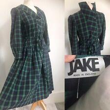 True Vintage Green Blue Check Flannel Dress Made In England Modern 12-14 JAKE