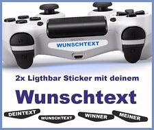 2x  PS4 Lightbar Sticker - DEIN TEXT - WUNSCHTEXT - Skin Playstation 4 weiß