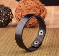 Cool Mens Single Band Surfer Genuine Leather Bracelet Wristband Cuff Black 1.6CM