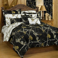 Realtree AP Black HD Queen Camo Comforter Set w/sheets 7pc Hunting Winter Modern