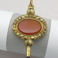 Antique Victorian Gold Filled Repousse Carnelian Watch Key Fob Charm Pendant