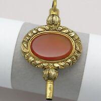 Antique Victorian Gold Filled Repousse Natural Carnelian LARGE Fob Charm Pendant