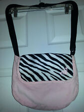 ROXY Pink Corduroy MESSENGER Crossbody SHOULDER PURSE School Bag ZEBRA PRINT