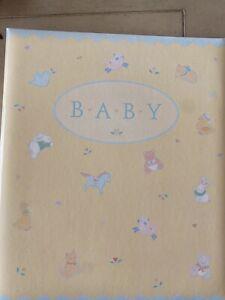 Vintage Hallmark Keepsake Unisex Baby Album Yellow With Bunny, Lamb, Teddy bear