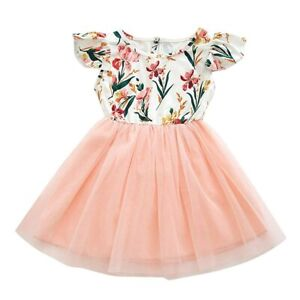 Girls Dress New Size 6-7 Years Delicate Floral Flutter Sleeve Tulle Dress