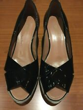 NEW TAPEET BY VICINI ITALY PLATFORM WEDGE PUMPS PATENT LEATHER BLACK  EU40/US9.5