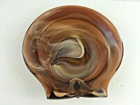 Imperial Large Shell Ashtray Chocolate Brown Slag Art Deco