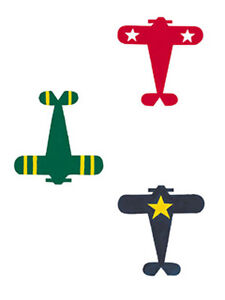 Airplanes Red Blue Green Plane 25 Wallies Wallpaper Wall Decals Old Vintage Look