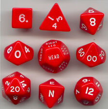 RPG Opaque Red Dice Cube 9pc D20, D12, D10, D8, D6, D4, Compass, Hit loc.