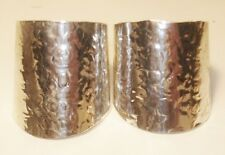 Artisan Hand Hammered Sterling Silver 28 mm Wide CUFF Earrings NO WIRES-Vintage