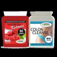 60 RASPBERRY KETONES & DETOX COLON INNER CLEANSE WEIGHT LOSS SLIMMING DIET PILLS
