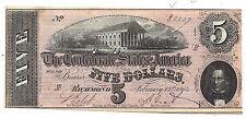 T-69 Pf-7 Cr-561 1864 Confederate States of America Five Dollar Note No.82217